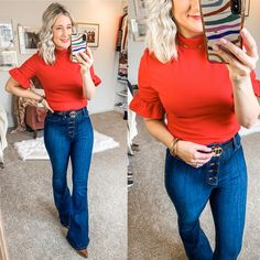 Teacher Wear, Valentines Outfits, Night Outfits, Ruffle Sleeve, Flare Jeans, How Are You Feeling, My Style, Red, How To Wear