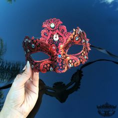 Red Masquerade Mask Masquerade Ball Mask Glamorous by 4everstore