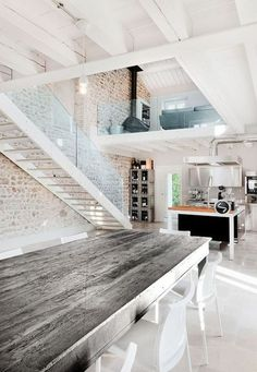 perfect blend of modern industrial & country cottage. keep original color of stones. Note the fireplace on the second floor