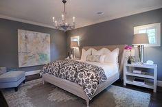 benjamin moore chelsea gray, best paint colour for a dark basement or family room. Shown in master bedroom