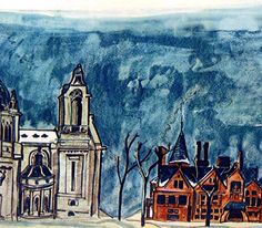 """Ludwig Bemelmans' paintings of Cathedral Hill, the Minnesota State Capital and various Twin City street scenes appeared  in the April, 1936 Fortune magazine article,""""Epitaph for a City"""""""