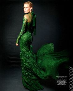 Tom Ford Emerald Green Embroidered Silk Satin Lace Dress   From a collection of rare vintage evening dresses at http://www.1stdibs.com/fashion/clothing/evening-dresses/