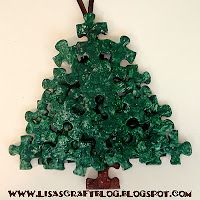 Puzzle Piece Christmas Tree.  Also saw one where the leaves were spray painted gold and then glitter put on after.