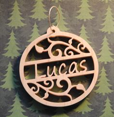 Personalized Name Wooden Christmas Tree Ornament by TheArtfulTree