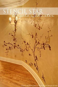 Cherry Blossom Stencil in a free form manner to create a larger stenciled blossom design | Project by Faux Time Design