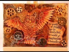 Jason's owl - Steampunk canvas mixed media