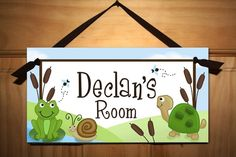 Pond Critters - Frogs, Snails and Turtle Tails Boys Bedroom Baby Nursery Kids DOOR SIGN Wall Art. $14.00, via Etsy.