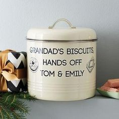 Personalised Biscuit Barrel - This Father's Day, treat Dad to something he really wants — everlasting memories with you. invite Dad to the sporting event of the season — a night in with your favourite team, Britain's finest snacks and unique tipple or two.