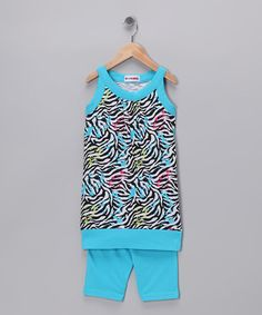 Blue Zebra Tunic & Shorts - Girls by Self Esteem on #zulily today!