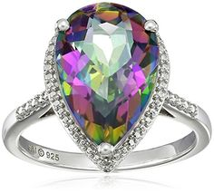 Sterling Silver Mystic Fire Topaz and DiamondAccented Ring Size 7 >>> Read more at the image link.
