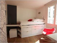 lit estrade id e de rangement petits espaces chambre lit estrade pinterest. Black Bedroom Furniture Sets. Home Design Ideas