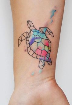 Geometric Watercolor Sea Turtle Tattoo - MyBodiArt.com