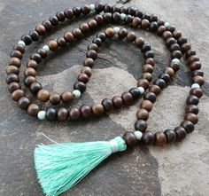 Dark chunky wooden bead 108 mala tassel necklace by Brightnewpenny, $26.00