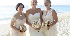 As seen on Style Me Pretty.  Cayman Islands destination wedding. Ivory bridesmaids dresses. Wedding by Celebrations Ltd on Seven Mile Beach