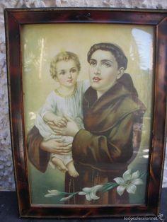 CUADRO RELIGIOSO SAN ANTONIO Y EL NIÑO 26CM X 19 CM