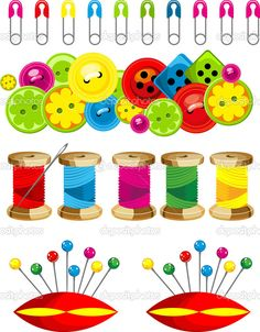 Gama de accesorios para costura — Vector de stock © marrishuannna ...