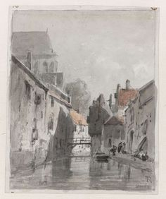 View of a canal in Gouda (Netherlands), by Adrianus Eversen, 1828-97