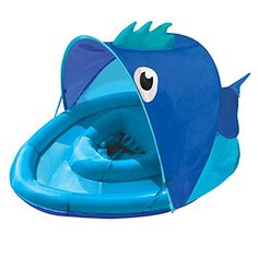 Introduce your baby to the pool with the Aqua Leisure Covered Fun Fish Baby Float. The comfy, safe design puts your little one at ease with a canopy that shields the sun's rays, large outer ring and extra wide design for stability, and secure, low seat. Baby Pool, Baby Swimming, Swimming Pools, Cool Pool Floats, Baby Float, Aqua, Swim School, Fish Shapes, Pool Toys