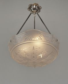 PETITOT & MULLER : 1930 French art deco chandelier in nickeled solid brass holding a Muller bowl in frosted moulded-pressed glass. (paravas-ebay)