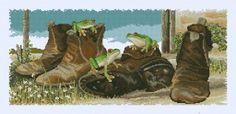 Лягушки в ботинках - Животные - Схемы вышивки - Иголка