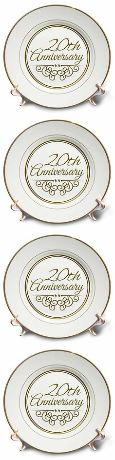 3dRose cp_154462_1 20th Anniversary Gift Gold Text for Celebrating Wedding Anniversaries 20 Years Married Together Porcelain Plate, 8-Inch