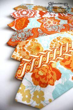 Big Guy Necktie Tie - Orange and Aqua Collection - (MENS size) - Custom Order - Wedding - Photo Prop. $18.00, via Etsy.