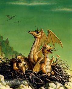 Baby Dragons by April Lee High Fantasy, Fantasy World, Fantasy Art, Fire Dragon, Dragon Art, Dragon Bones, Gold Dragon, Magical Creatures, Fantasy Creatures