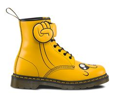 For every day adventures, in the Land of Ooo and beyond, this is the boot. A tribute to Adventure Time's magical, shape-shifting Jake the Dog, it's crafted in yellow Smooth leather, with Jake's jowly face on the toe and a padded, lace-through over-strap shaped like his hand.