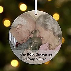 Milestone Photo Message Round Ornament