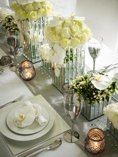 Wedding table , i could get square vases made up to run solid down cntr of table? in mirror or glass