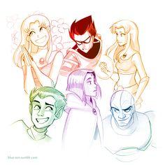 Teen Titans colored portraits.
