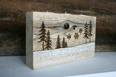 Winter Wonderland Tealight Candle Holder - Woodburned Designs