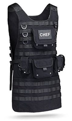 Get ready for an awesome cookout party with this Tactical BBQ Apron from ThinkGeek. This must-have item incorporates a real MOLLE system to allow you to hold everything that the grill master in you needs to cook with precision. Bbq Apron, Chef Apron, Grill Apron, Barbacoa, Molle System, Velcro Patches, Kitchen Aprons, Kitchen Stuff, Grill Master
