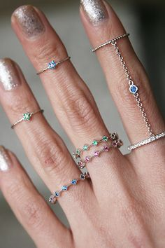 Color Stone Eternity Ring White Gold Set of 3 Gold Rings Jewelry, Beaded Rings, Heart Jewelry, Heart Earrings, Wire Jewelry, Boho Jewelry, Silver Bracelets, Stylish Rings, Stylish Jewelry