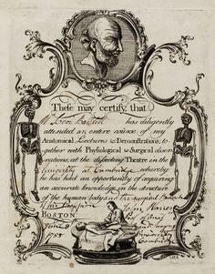 Anatomical Lecture Certificate Engraved by Paul Revere (https://www.pinterest.com/pin/287386019949795408/), 18th Century.