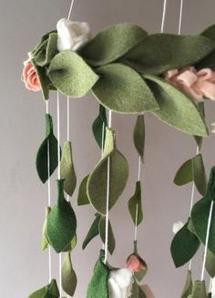 Flower chandelier nursery mobile  Blush White Pink  Felt