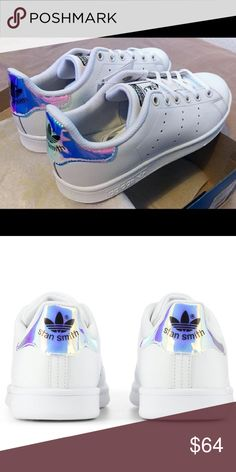 NWOT holographic Adidas Stan Smiths! Authentic and brand new Stan Smith sneakers by adidas. Purchased new from another posher but they were the wrong size! Big Kid's size 5 which equals a woman's 5 but would probably also fit a small 5.5! adidas Shoes Athletic Shoes