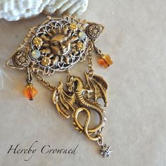 Liza Brooch ~ Guardian of the Sun ~ Medieval, Renaissance-inspired, Fantasy OOAK Dragon Pin