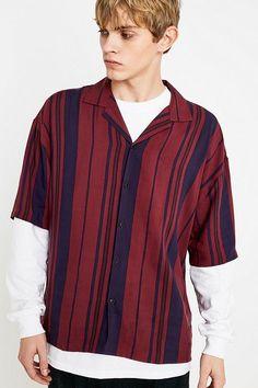 4739e9f0e0 Slide View  1  Loom Berry Stripe Viscose Short-Sleeve Shirt Shirt Sleeves