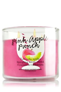 Pink Apple Punch - Bath and Body Works - Pretty and pink, this irresistible blend of crisp Pink Lady apples and citrus leaves packs a fabulously fragrant punch Bath Candles, Pink Candles, Home Candles, 3 Wick Candles, Scented Candles, Yankee Candles, Jar Candle, Candle Holders, Bath N Body Works
