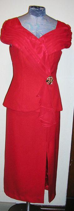 vtg 80s red cocktail dress chiffon off by ChloeandNatalieVtg, $49.00