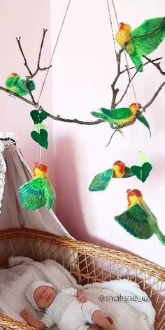 The needle felt forest animals baby mobile will be a wonderful decoration for a woodland nursery boy & girl, toddler boy room decor forest theme. Toddler Boy Room Decor, Boys Room Decor, Girl Toddler, Bedroom Decor, Woodland Nursery Prints, Bird Mobile, Diy Wind Chimes, Forest Theme, Nursery Room