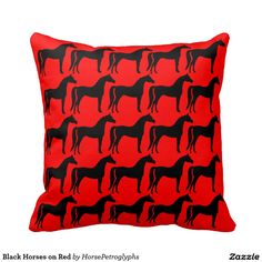 Black Horses on Red Throw Pillow