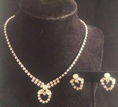 Vintage Rhinestone Necklace Screwback Earring Set Clear Prongset Glass Silverton