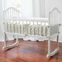 Taupe and White Dots and Stripes cradle bedding