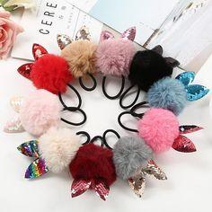 c12adf07a7b 10pcs lot Hair Accessories Women Sequin Ear Elastic Ring Headwear Girl Hair  Band  fashion