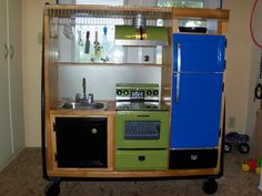 upcycled entertainment center.its on wheels!!!