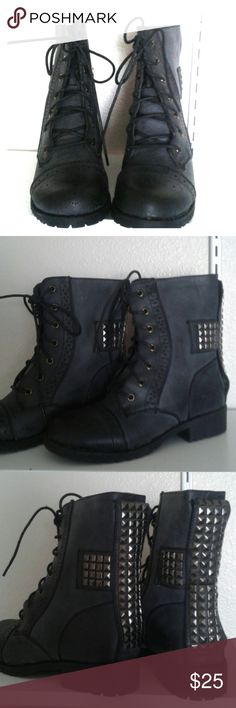 Black faux-leather boots Faux-leather with Oxford lace cut details. Lace-up front with gunmetal studded cross on back. Brand new with original packaging. Never worn.  Closing physical store and selling all merchandise! Check out my shoppe to see other items! Liliana Shoes Combat & Moto Boots