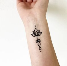 Unalome Lotus Temporary Tattoo
