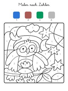 Coloring by numbers: print the owl for free - Coloring by numbers: print the owl for free The Effective Pictures We Offer You About school unifor - Kindergarten Activities, Activities For Kids, Preschool, Color By Numbers, Paint By Number, Free Coloring, Coloring Pages, Kindergarten Portfolio, Activity Sheets